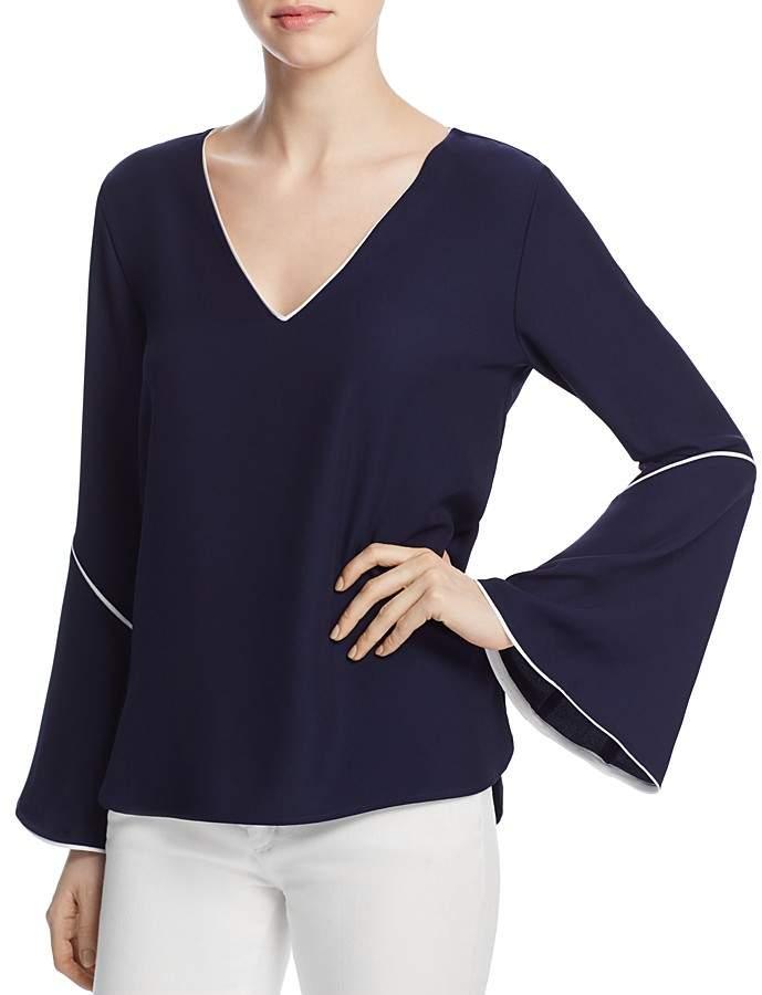Calvin Klein V-Neck Bell Sleeve Top