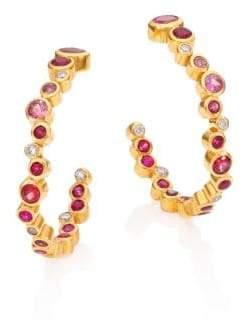 """Gurhan Pointelle Diamond, Multi-Stone& 24K Yellow Gold Hoop Earrings/1.2"""""""