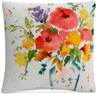 """Trademark Global Sheila Golden White Vase with Bright Flowers 16"""" x 16"""" Decorative Throw Pillow"""