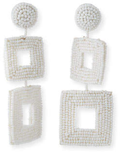 Kenneth Jay Lane Double Square Seed Bead Drop Earrings, White