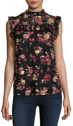 Almost Famous Sleeveless Crew Neck Lace Blouse-Juniors