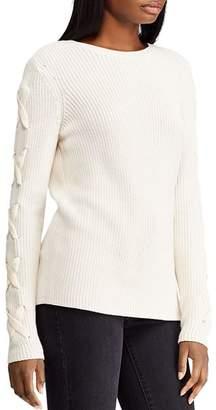 Ralph Lauren Velvet Lace-Up Sleeve Sweater