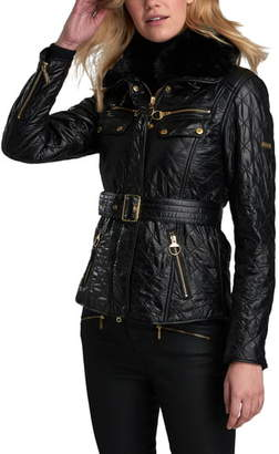 Barbour Icons International Faux Fur Collar Belted Moto Jacket