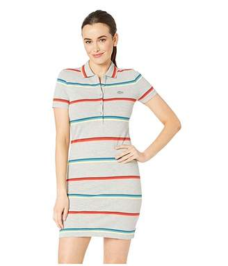 Lacoste Short Sleeve Striped Cotton Pique Classic Polo Dress