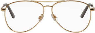 Balenciaga Gold Thin Metal Double Bridge Aviator Glasses
