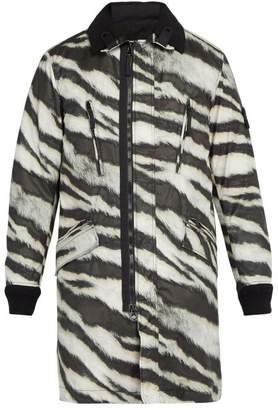 Stone Island - Tiger Print Detachable Fleece Technical Jacket - Mens - Beige