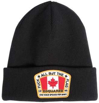 DSQUARED2 Wool Beanie Hat W/ Logo Patch