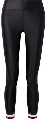 The Upside Hoya Cropped Striped Stretch Leggings - Black