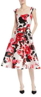 David Meister Fit-&-Flare Floral-Print Tea-Length Dress