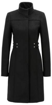 BOSS Hugo Virgin-wool-blend coat hardware-trimmed belt detail 2 Black