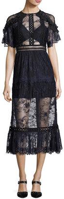 Self-Portrait Frill-Shoulder Fine Lace Midi Dress, Navy $545 thestylecure.com
