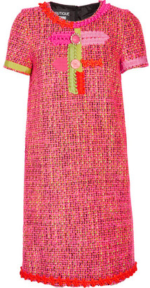 Boutique Moschino - Embellished Tweed Mini Dress - Pink $995 thestylecure.com