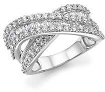 Bloomingdale's Diamond Round and Baguette Crossover Ring in 14K White Gold, 2.0 ct. t.w. - 100% Exclusive