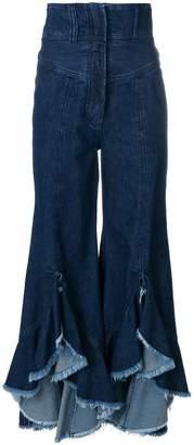 Sara Battaglia ruffle hem flared jeans