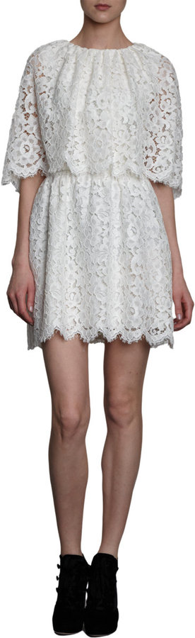 Dolce & Gabbana Lace Cape Mini Dress