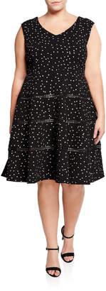 Taylor Sleeveless Polka Dot Fit-&-Flare Dress
