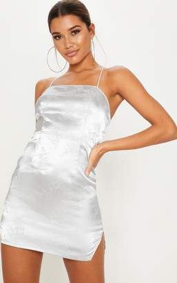 PrettyLittleThing Silver Satin Oriental Lace Up Back Bodycon Dress