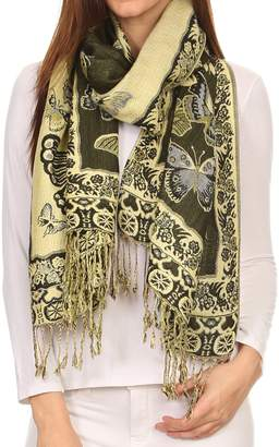 Sakkas 16126 - Liua Long Wide Woven Patterned Design Multi Colored Pashmina Shawl/Scarf - OS
