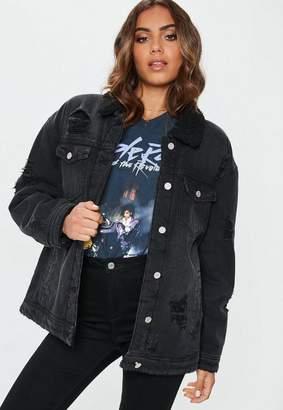 Missguided Black Borged Lined Denim Trucker Jacket, Black