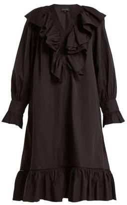 Lee Mathews - Miller Ruffled Cotton Dress - Womens - Black