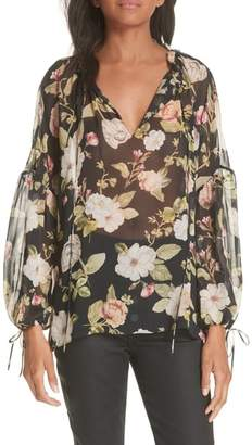 Alice + Olivia Julius Sheer Silk Tunic Blouse