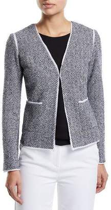 St. John Abby V-Neck Chevron Knit Jacket