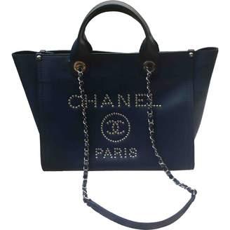 727df9a2a984 Chanel Deauville Blue Leather Handbag