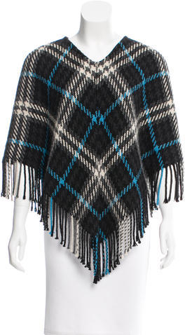 Burberry  Burberry Cashmere & Wool-Blend Check Poncho