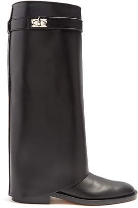 Givenchy Shark Lock leather knee-high boots