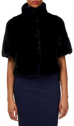 Gorski Chevron Mink-Fur Short-Sleeve Bolero Jacket