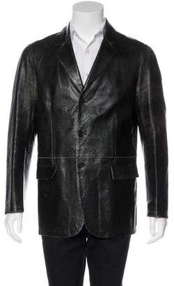 Neil Barrett Leather Notch-Lapel Jacket