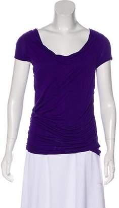 Tahari Pleated Short Sleeve Blouse