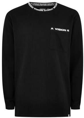 Topman Mens VISION STREET WEAR Black Ribbed Long Sleeve T-Shirt