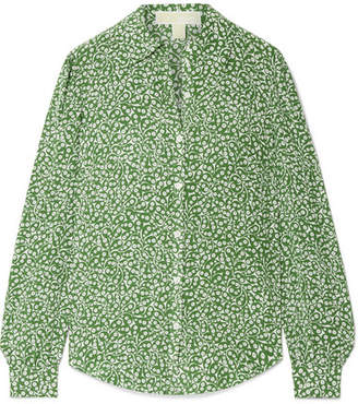 MICHAEL Michael Kors Printed Washed-silk Blouse - Forest green