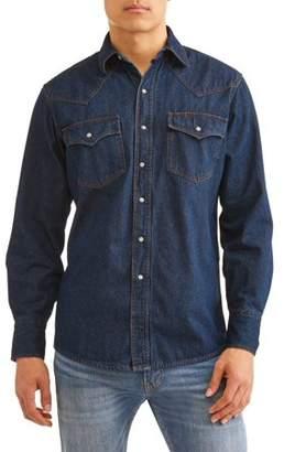 Plains Men's Long Sleeve Washed Denim Flannel Lined Western Shirt