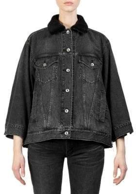 Sacai Faux Fur-Trimmed Denim Jacket