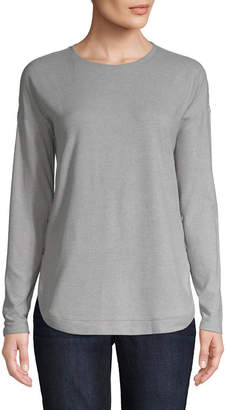ST. JOHN'S BAY Womens Crew Neck Long Sleeve Peasant Top