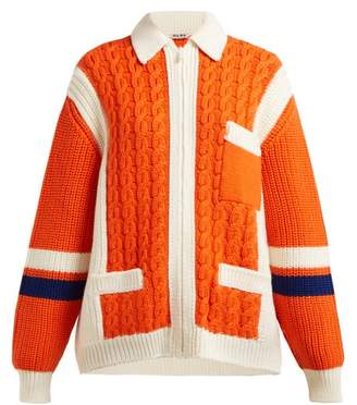 Miu Miu Intarsia Stripe And Cable Knit Wool Cardigan - Womens - Orange Multi