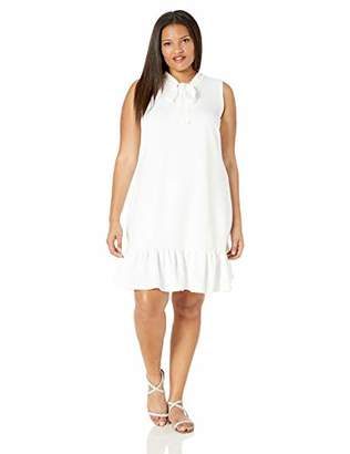 Betsey Johnson Women's Plus Size Shift Dress with Laser Cut Necktie