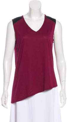 Barneys New York Barney's New York Leather-Trimmed Sleeveless Top