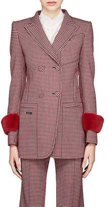 Fendi Women's Fur-Trimmed Wool Double-Breasted Blazer