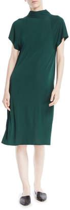 Rosetta Getty Mock-Neck Short-Sleeve Drape-Back Shift Dress