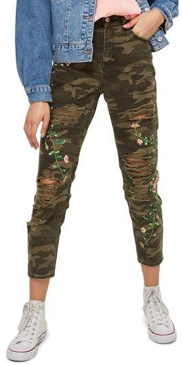 Embroidered Camo Mom Jeans