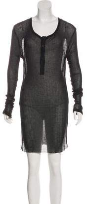 Ann Demeulemeester Long Sleeve Semi-Sheer Dress