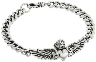 King Baby Studio - Curblink Bracelet with Winged Crowned Heart  Bracelet $535 thestylecure.com