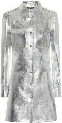 Calvin Klein Metallic leather shirt dress