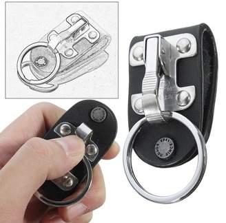 Online Stainless Steel Black Leather Detachable Key Chain Belt Clip Ring Holder Keyring