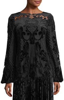 Kobi Halperin x Erte Sarina Long-Sleeve Crocheted Velvet & Satin Blouse