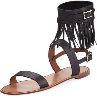 Fringed Flat Leather Sandal, Black