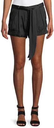 Halston Solid Satin Tie-Waist Shorts